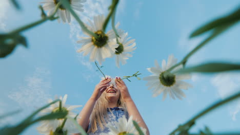 Hilarious-child-plucks-daisies-on-the-field
