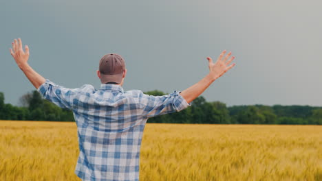 Farmer-Raises-His-Hands-Stands-In-A-Field-Of-Wheat-View-From-Behind