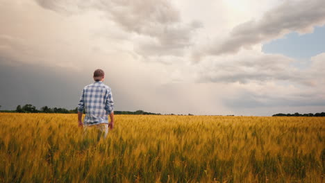 Farmer-Admires-A-Field-Of-Wheat-At-Sunset-3