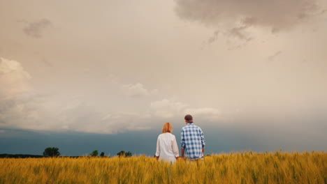 Two-Farmers-Stand-In-A-Field-Of-Wheat-Against-A-Stormy-Sky-Where-Lightning-Is-Visible-1