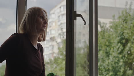 A-woman-washes-a-window-in-the-apartment-of-a-high-rise-building-1
