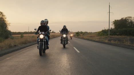 A-group-of-bikers-ride-on-motorcycles-on-the-highway