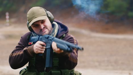 A-hunter-with-headphones-shoots-a-gun-4