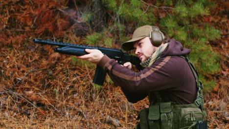 A-hunter-with-headphones-shoots-a-gun-5