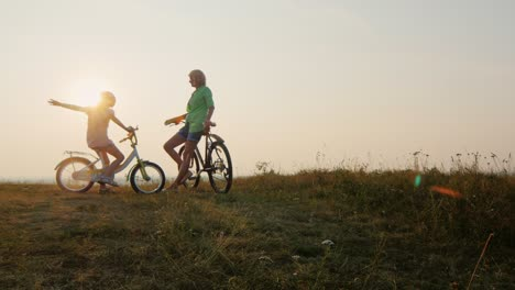 A-woman-and-a-child-ride-bicycles-2