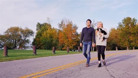 Young-couple-walks-the-dog