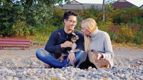 Young-couple-walks-the-dog-1