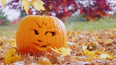 Close-Up-Face-Carved-Into-A-Pumpkin