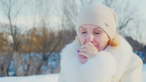 Portrait-Of-A-Woman-Who-Comes-Down-From-The-Snow-Covered-Hills