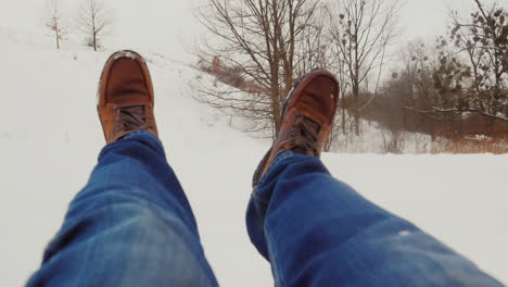 Pov---Fast-Descent-Or-Fall-In-The-Snow-Covered-Mountains
