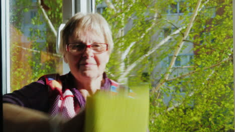 Senior-Woman-With-A-Smile-Doing-Housework---Washes-The-Window