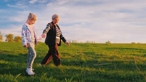 Grandmother-And-Granddaughter-Are-Walking-Around-The-Countryside