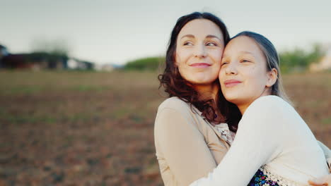 Mother-Gently-Hugs-Her-11-Year-Old-Daughter