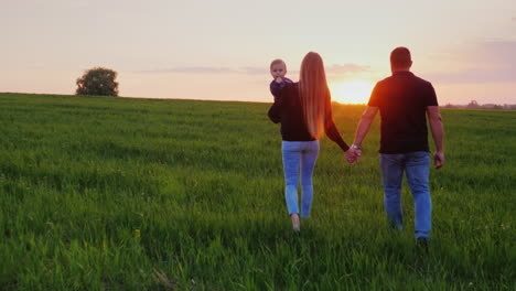 A-Young-Married-Couple-Is-Walking-Along-A-Beautiful-Meadow-At-Sunset