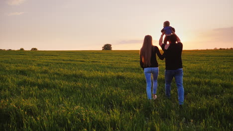 A-Young-Married-Couple-Is-Walking-Along-A-Beautiful-Meadow-At-Sunset-3