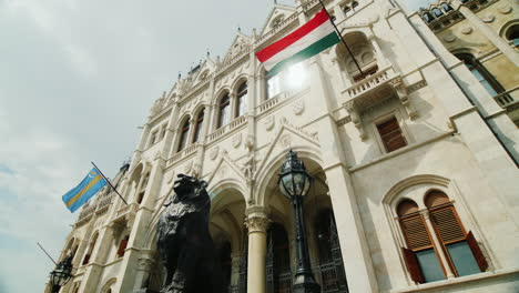Beautiful-Building-Of-The-Hungarian-Parliament-With-A-Flag-View-From-Below