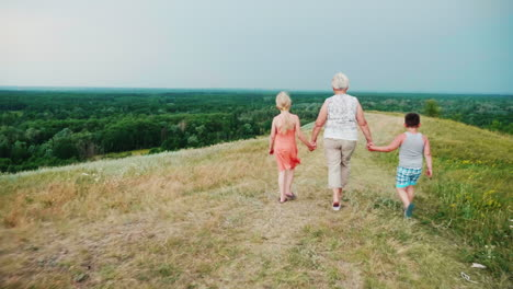 Grandmother-For-The-Hands-With-Two-Grandchildren---A-Girl-And-A-Boy-Walks-Through-The-Lively-Rural-Countryside