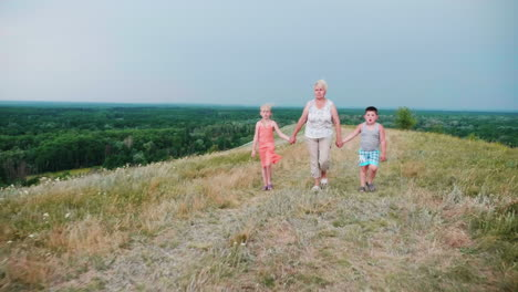 Grandmother-For-The-Hands-With-Two-Grandchildren---A-Girl-And-A-Boy-Walks-Through-The-Lively-Rural-Countryside-1