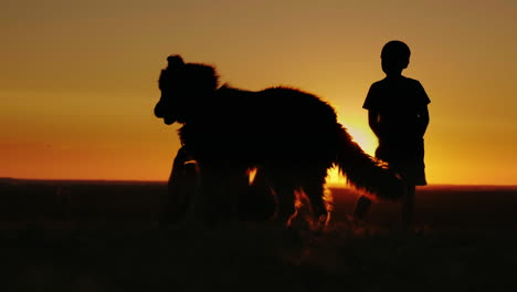 Two-Rural-Boys-Play-With-Their-Favorite-Dog-At-Sunset