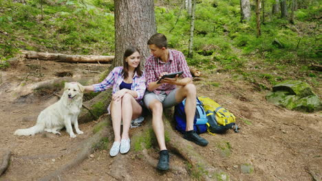 Young-Couple-With-A-Dog-Rest-In-The-Forest