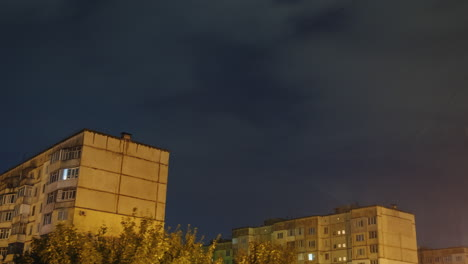Thunderstorm-With-Rain-And-Lightning-Over-Residential-Area-With-Multi-Storey-Buildings