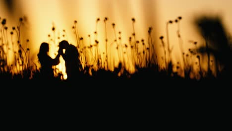 Silhouette-Of-A-Loving-Pregnant-Couple-At-Sunset