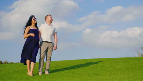 The-Husband-With-His-Pregnant-Wife-Is-Walking-Along-The-Green-Meadow-Holding-Hands-1